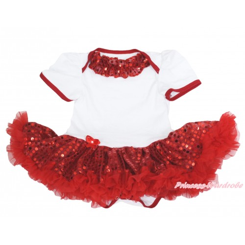 Xmas White Baby Bodysuit Sparkle Red Sequins Pettiskirt & Red Sequins Lacing JS4135