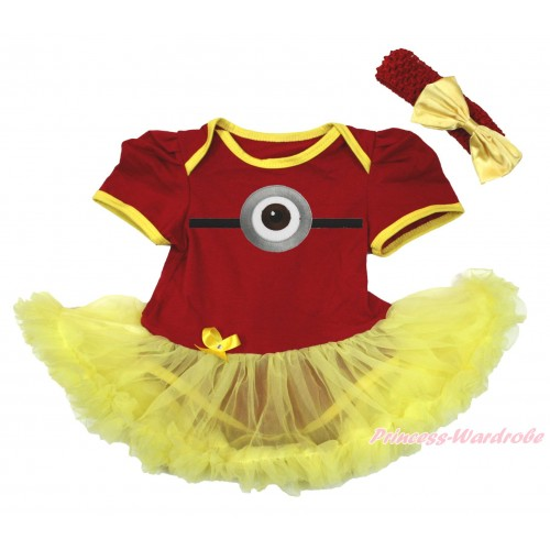 Red Baby Bodysuit Yellow Pettiskirt & Minion Print JS4281