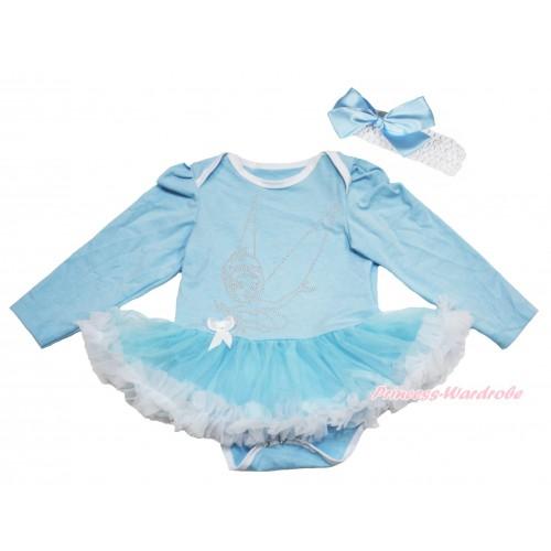 Light Blue Long Sleeve Bodysuit Light Blue White Pettiskirt & Sparkle Rhinestone Periwinkle Print JS4293