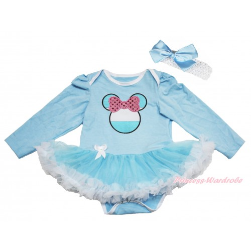 World Cup Light Blue Long Sleeve Bodysuit Light Blue White Pettiskirt & Sparkle Light Pink Bow Argentina Minnie Print JS4296