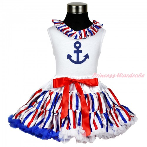 White Tank Top Red White Blue Striped Satin Lacing & Royal Blue Anchor Print & Red White Blue Striped Pettiskirt MG1375