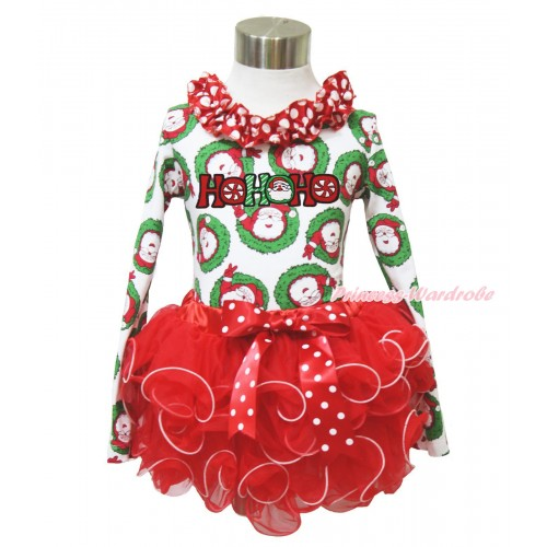 Xmas Santa Claus Long Sleeve Top Minnie Dots Lacing & HOHOHO Santa Claus Print & Minnie Dots Bow Red Petal Pettiskirt MW584