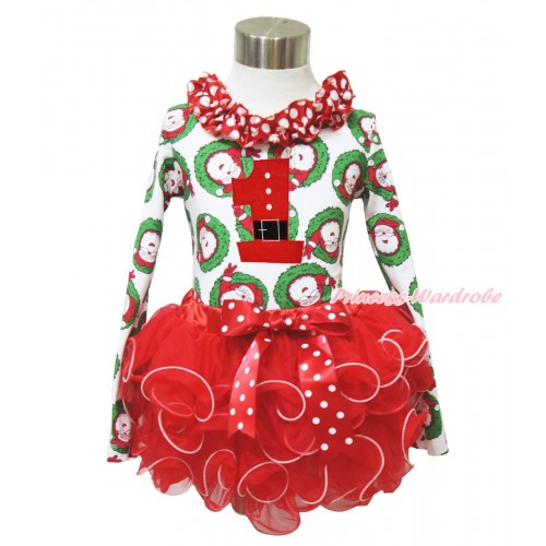 Xmas Santa Claus Long Sleeve Top Minnie Dots Lacing & 1st Santa Claus Birthday Number Print & Minnie Dots Bow Red Petal Pettiskirt MW585