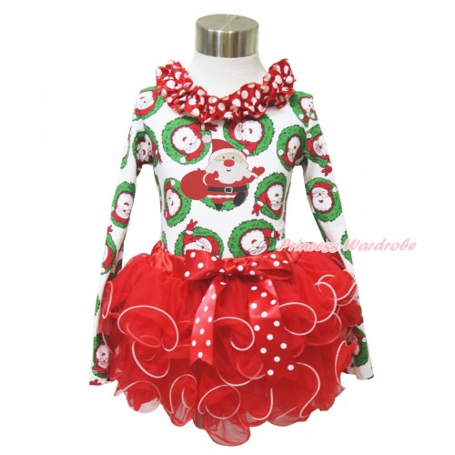 Xmas Santa Claus Long Sleeve Top Minnie Dots Lacing & Gift Bag Santa Claus Print & Minnie Dots Bow Red Petal Pettiskirt MW586