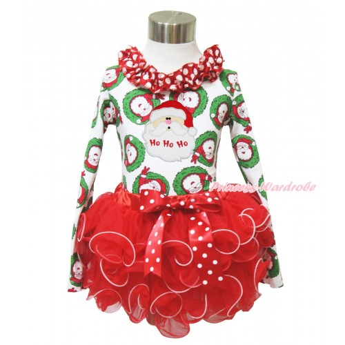 Xmas Santa Claus Long Sleeve Top Minnie Dots Lacing & Santa Claus Print & Minnie Dots Bow Red Petal Pettiskirt MW587
