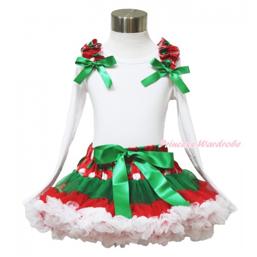 Xmas White Long Sleeve Top Red White Green Dots Ruffles Kelly Green Bow & Red White Green Dots Pettiskirt MW588