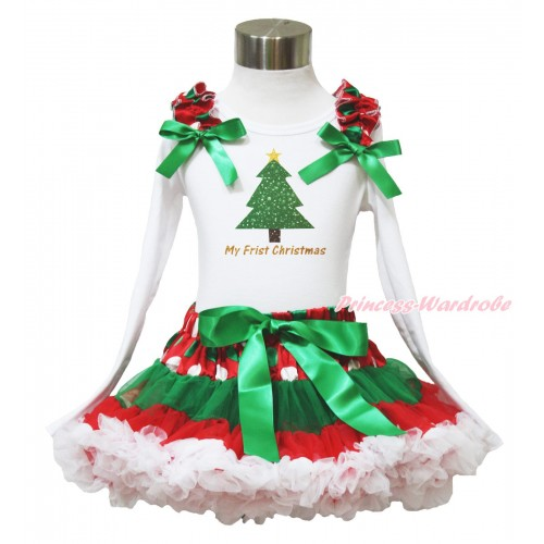 Xmas White Long Sleeve Top Red White Green Dots Ruffles Kelly Green Bow & My First Christmas Tree & Red White Green Dots Pettiskirt MW589