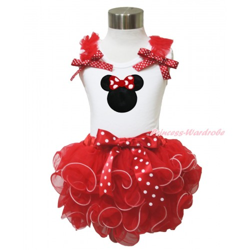 White Baby Pettitop Red Ruffles Minnie Dots Bow & Red Minnie & Minnie Dots Bow Red Petal Newborn Pettiskirt NN231