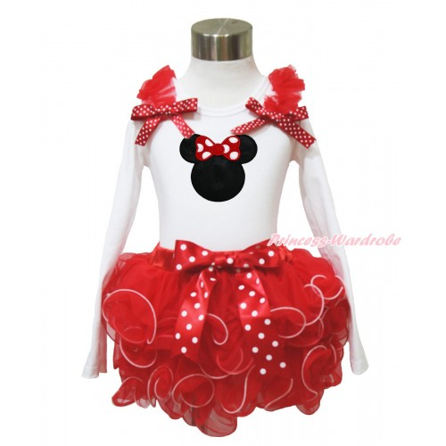 White Baby Long Sleeves Top Red Ruffles Minnie Dots Bow & Red Minnie Print & Minnie Dots Bow Red Petal Baby Pettiskirt NQ43