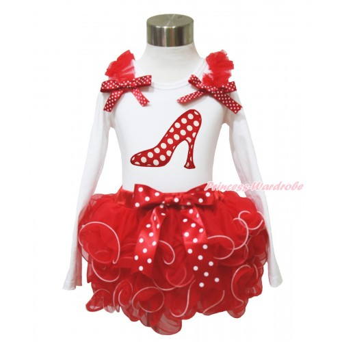 White Baby Long Sleeves Top Red Ruffles Minnie Dots Bow & Minnie Dots High Heel Shoes Print & Minnie Dots Bow Red Petal Baby Pettiskirt NQ47