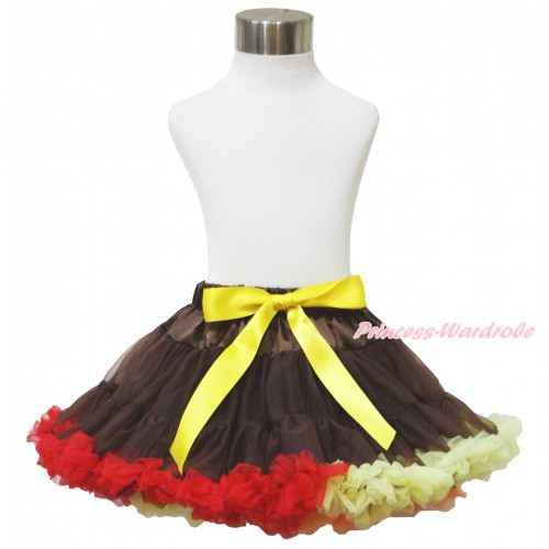 Thanksgiving Brown Red Yellow Mix Pettiskirt P193