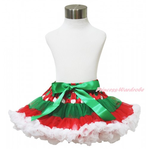 Xmas Red White Green Dots Full Pettiskirt P194