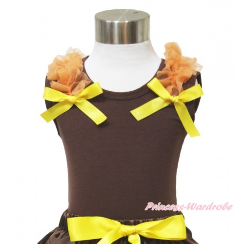 Thanksgiving Brown Tank Top Orange Ruffles Yellow Bow T621