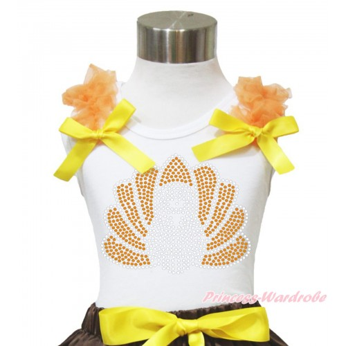 Thanksgiving White Tank Top Orange Ruffles Yellow Bow & Sparkle Rhinestone Turkey Print TB943