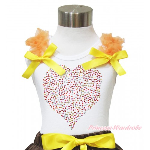 Valentine's Day White Tank Top Orange Ruffles Yellow Bow & Sparkle Rhinestone Rainbow Heart Print TB945