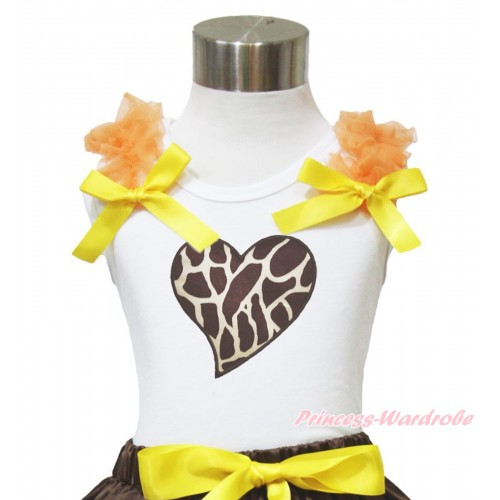 Valentine's Day White Tank Top Orange Ruffles Yellow Bow & Giraffe Heart Print TB946