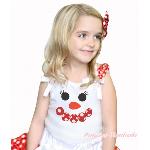 Xmas White Tank Top Minnie Dots Ruffles White Bow & Minnie Dots Snowman Face Print TB948