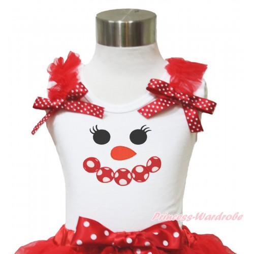 Xmas White Tank Top Red Ruffles Minnie Dots Bow & Minnie Dots Snowman Face Print TB949