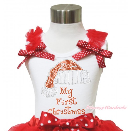 Xmas White Tank Top Red Ruffles Minnie Dots Bow & Sparkle Rhinestone Christmas Hat Print TB950