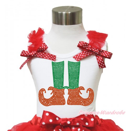 Xmas White Tank Top Red Ruffles Minnie Dots Bow & Sparkle Rhinestone Elf Socks Print TB951
