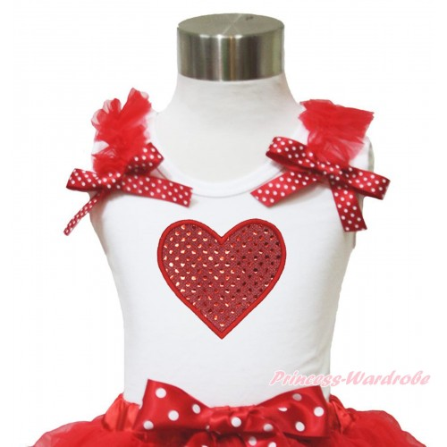 Valentine's Day White Tank Top Red Ruffles Minnie Dots Bow & Sparkle Red Heart Print TB952