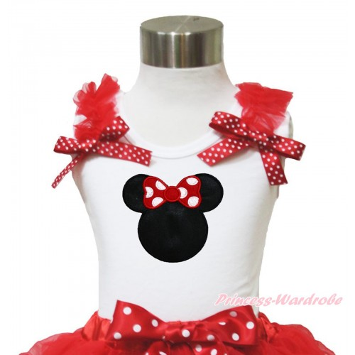 White Tank Top Red Ruffles Minnie Dots Bow & Red Minnie Print TB953
