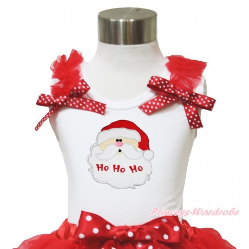 Xmas White Tank Top Red Ruffles Minnie Dots Bow & Santa Claus Print TB954