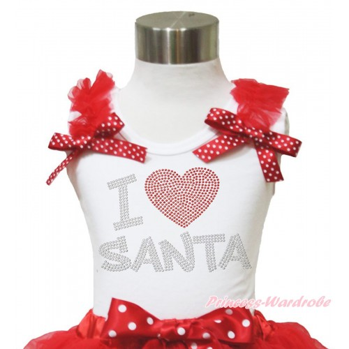 Xmas White Tank Top Red Ruffles Minnie Dots Bow & Sparkle Rhinestone I Love Santa Print TB955