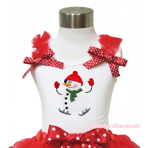 Xmas White Tank Top Red Ruffles Minnie Dots Bow & Ice-Skating Snowman Print TB956