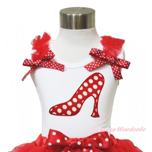 White Tank Top Red Ruffles Minnie Dots Bow & Minnie Dots High Heel Shoes Print TB957