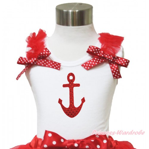 White Tank Top Red Ruffles Minnie Dots Bow & Sparkle Red Anchor Print TB958