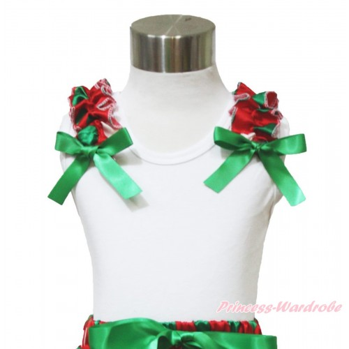 Xmas White Tank Top Red White Geen Dots Ruffles Kelly Green Bow TB959
