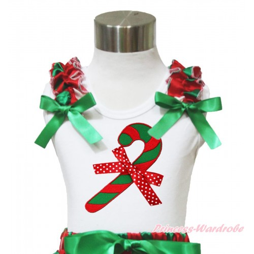 Xmas White Tank Top Red White Green Dots Ruffles Kelly Green Bow & Christmas Stick & Minnie Dots Bow Print TB962