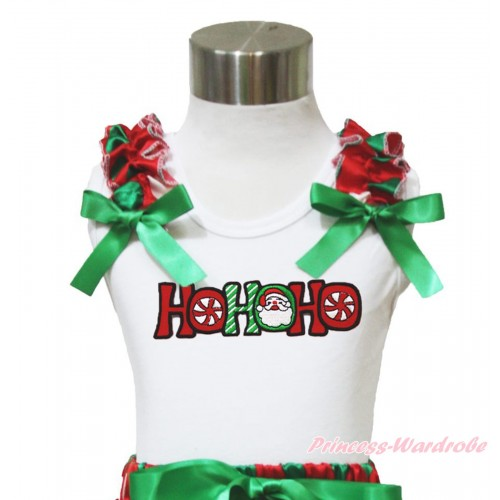 Xmas White Tank Top Red White Green Dots Ruffles Kelly Green Bow & HOHOHO Santa Claus Print TB963