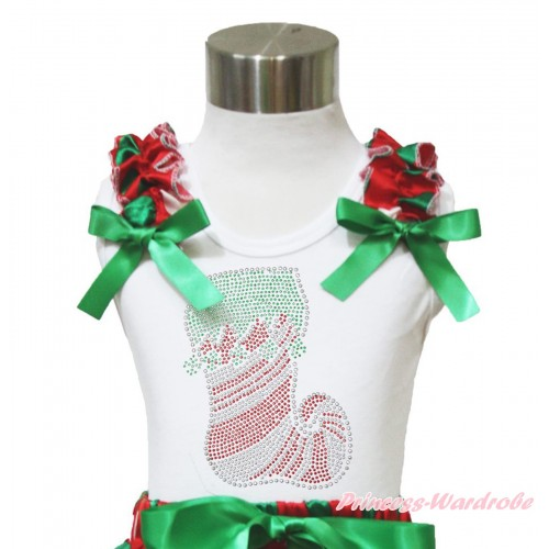 Xmas White Tank Top Red White Green Dots Ruffles Kelly Green Bow & Sparkle Rhinestone Christmas Stocking Print TB966