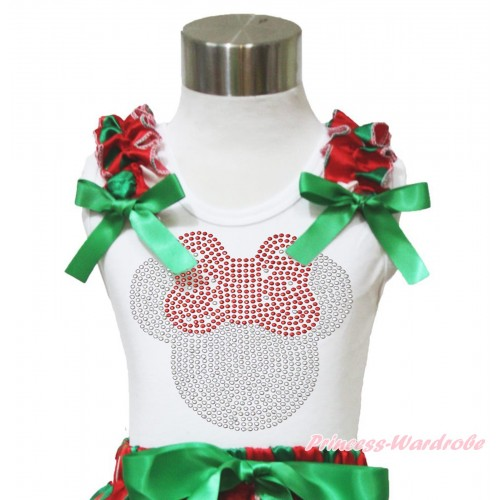 Xmas White Tank Top Red White Green Dots Ruffles Kelly Green Bow & Sparkle Rhinestone Red Minnie Print TB967