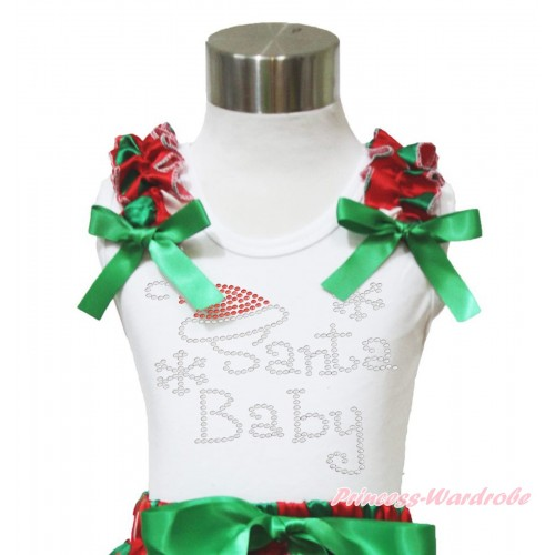 Xmas White Tank Top Red White Green Dots Ruffles Kelly Green Bow & Sparkle Rhinestone Santa Baby Print TB968