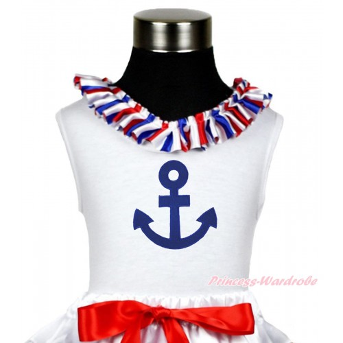 White Tank Top Red White Blue Striped Satin Lacing & Royal Blue Anchor Print TB970