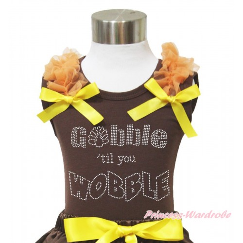 Thanksgiving Brown Tank Top Orange Ruffles Yellow Bow & Sparkle Rhinestone Gobble Till You Wobble Print TM281