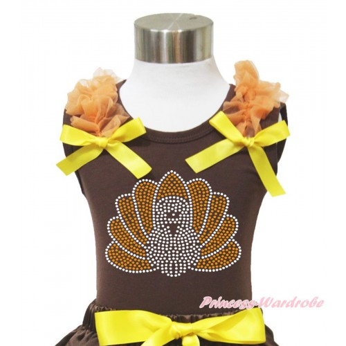 Thanksgiving Brown Tank Top Orange Ruffles Yellow Bow & Sparkle Rhinestone Turkey Print TM282