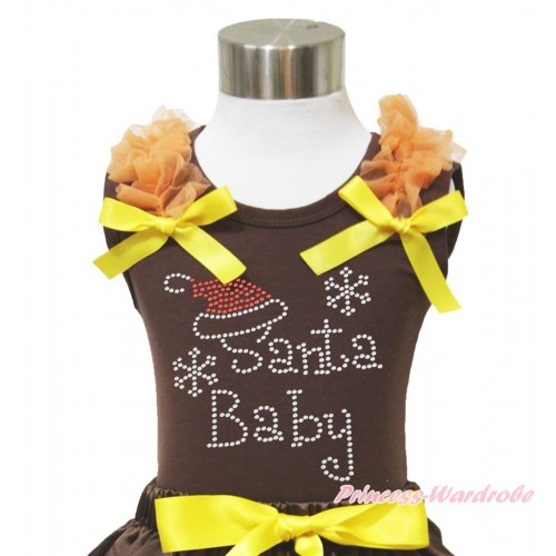 Xmas Brown Tank Top Orange Ruffles Yellow Bow & Sparkle Rhinestone Santa Baby Print TM283