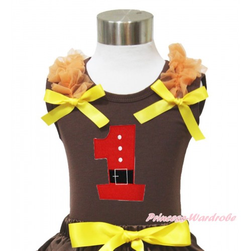 Xmas Brown Tank Top Orange Ruffles Yellow Bow & 1st Santa Claus Birthday Number Print TM284