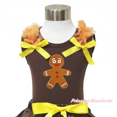 Xmas Brown Tank Top Orange Ruffles Yellow Bow & Brown Gingerbread Print TM285