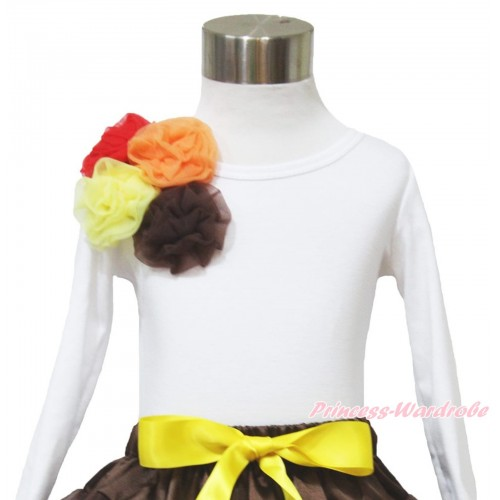 Thanksgiving White Long Sleeve Top & Bunch of Red Orange Yellow Brown Rosettes TW510