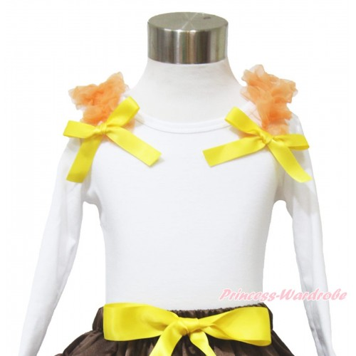 Thanksgiving White Long Sleeves Top Orange Ruffles Yellow Bow TW511