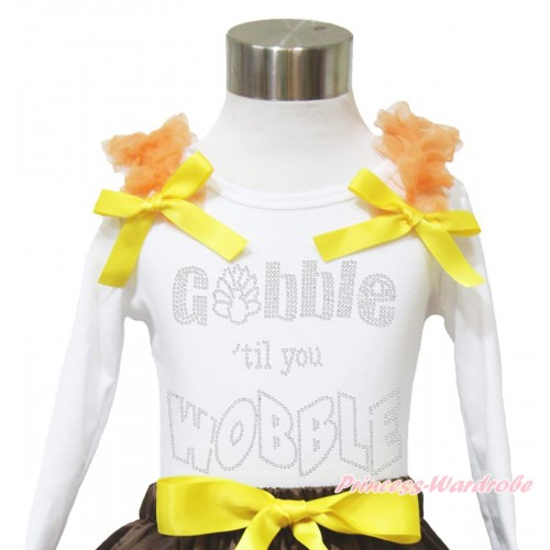 Thanksgiving White Long Sleeves Top Orange Ruffles Yellow Bow & Sparkle Rhinestone Gobble Till You Wobble TW512