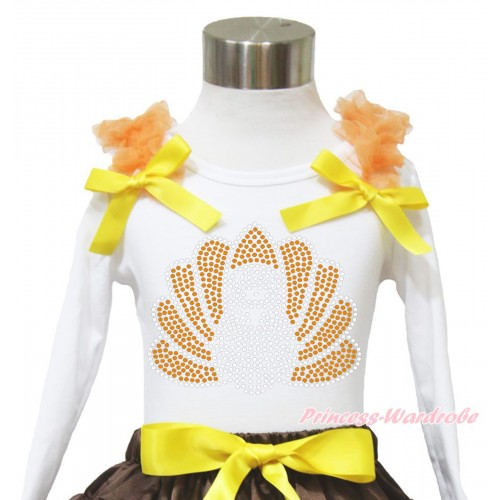 Thanksgiving White Long Sleeves Top Orange Ruffles Yellow Bow & Sparkle Rhinestone Turkey TW513
