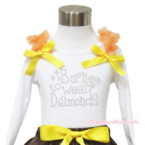 White Long Sleeves Top Orange Ruffles Yellow Bow & Sparkle Rhinestone Born To Wear Diamonds TW514