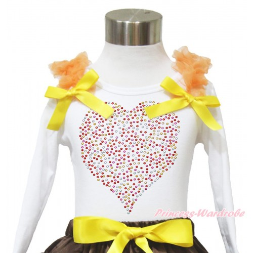 Valentine's Day White Long Sleeves Top Orange Ruffles Yellow Bow & Sparkle Rhinestone Rainbow Heart TW515