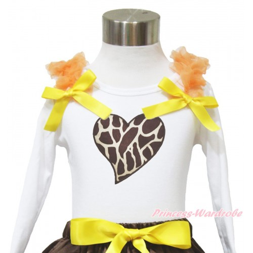 Valentine's Day White Long Sleeves Top Orange Ruffles Yellow Bow & Giraffe Heart TW516